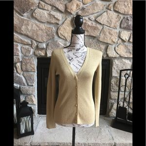 Rafaella gold shimmer cardigan sweater